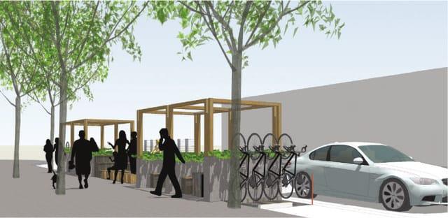 Artist's concept of Belltown's parklet outside City Hostel