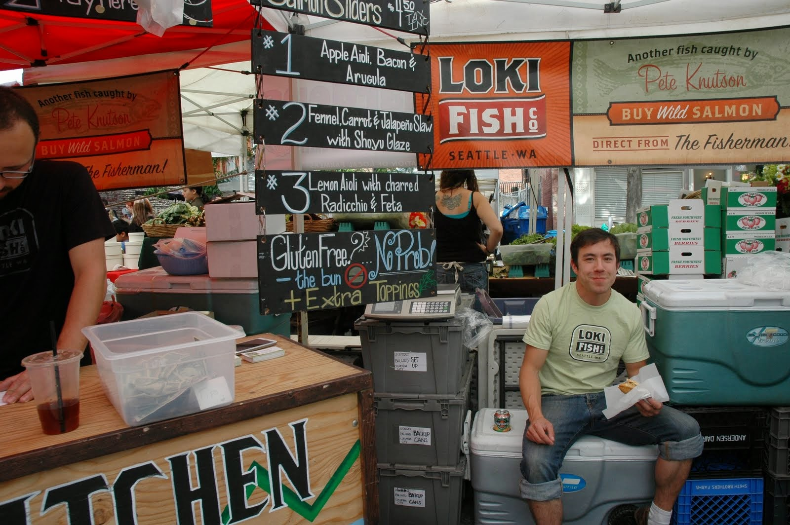 The Ballard Farmer's Market is a gluten-abstainer's paradise. Most vendors either have gluten-free options or only offer gluten-free fare. The same goes for vegetarian, vegan, and dairy-free foods. Pictured: Loki Fish Co.